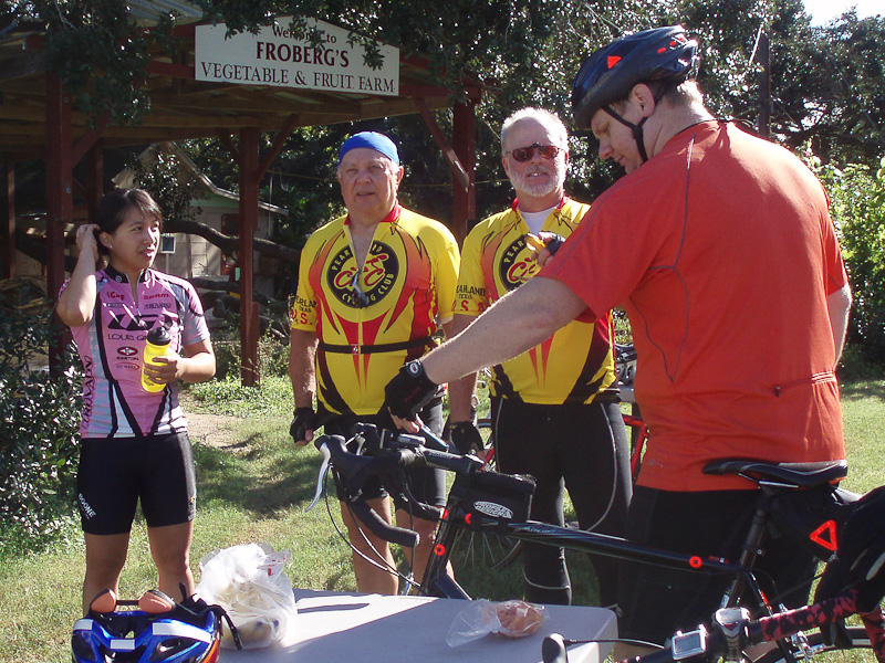 Rest break at Froberg's, a regular stop for our club rides.
