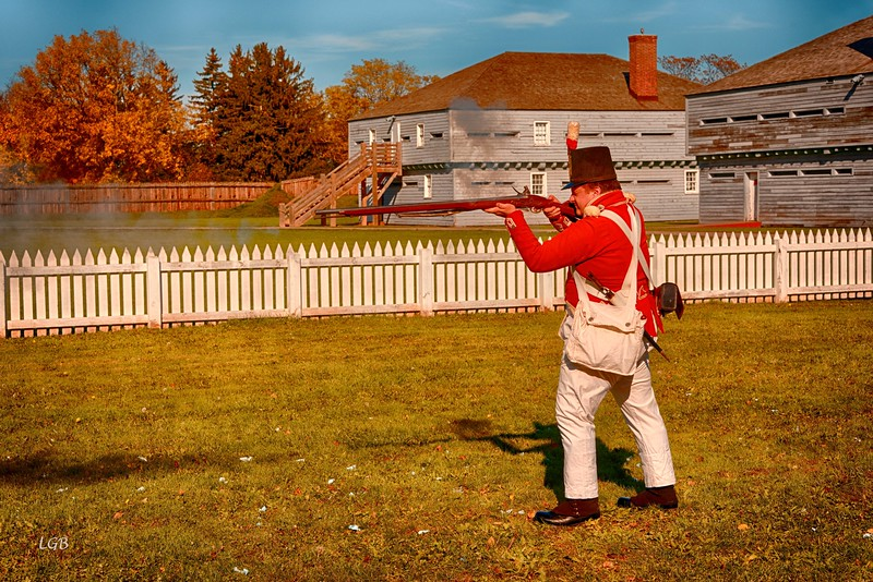 Musket firing demonstration. Fort George, Niagara on the Lake, Canada.