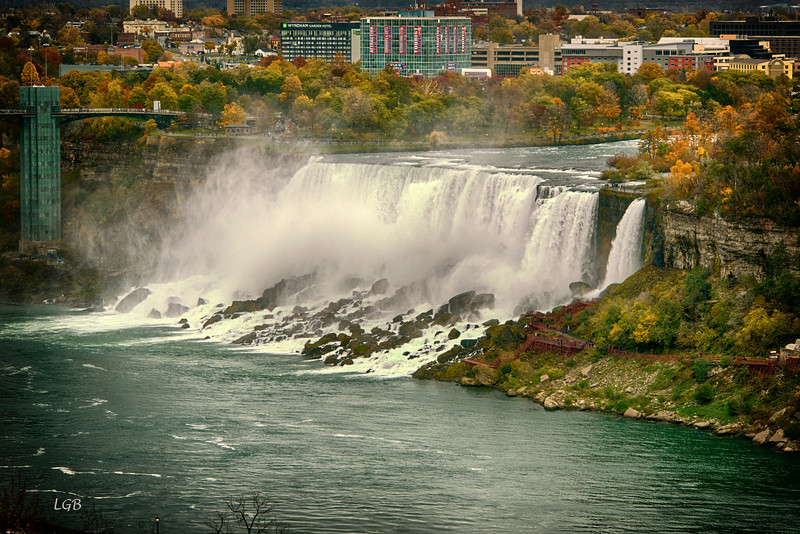 American Falls, Bridal Veil Falls is the small falls on the right.