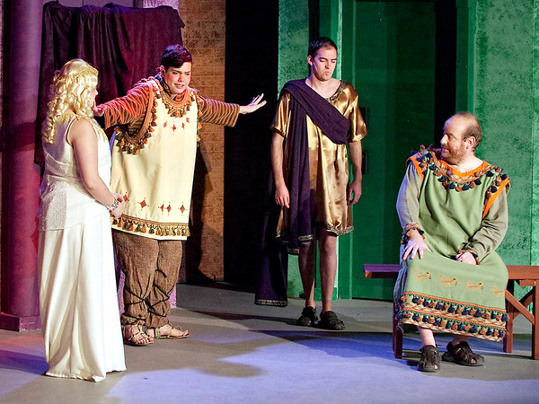 Mark Maynard   for The Herald Bulletin<br /> Hysterium (Spencer Martin) separates Philia (Aleia Short) and Hero (Joshua Wilkinson) as a bemused Pseudolus (Daniel Draves) looks on.