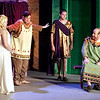 Mark Maynard | for The Herald Bulletin<br /> Hysterium (Spencer Martin) separates Philia (Aleia Short) and Hero (Joshua Wilkinson) as a bemused Pseudolus (Daniel Draves) looks on.