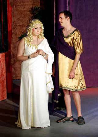 "Mark Maynard | for The Herald Bulletin<br /> Philia (Aleia Short) meets Hero (Joshua Wilkinson) for the first time in the Anderson's Mainstage Theatre production of ""A Funny Thing Happened on the Way  to the Forum."""