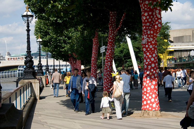 Spotty trees on the South Bank.