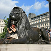One of the huge lions in Trafalgar Square