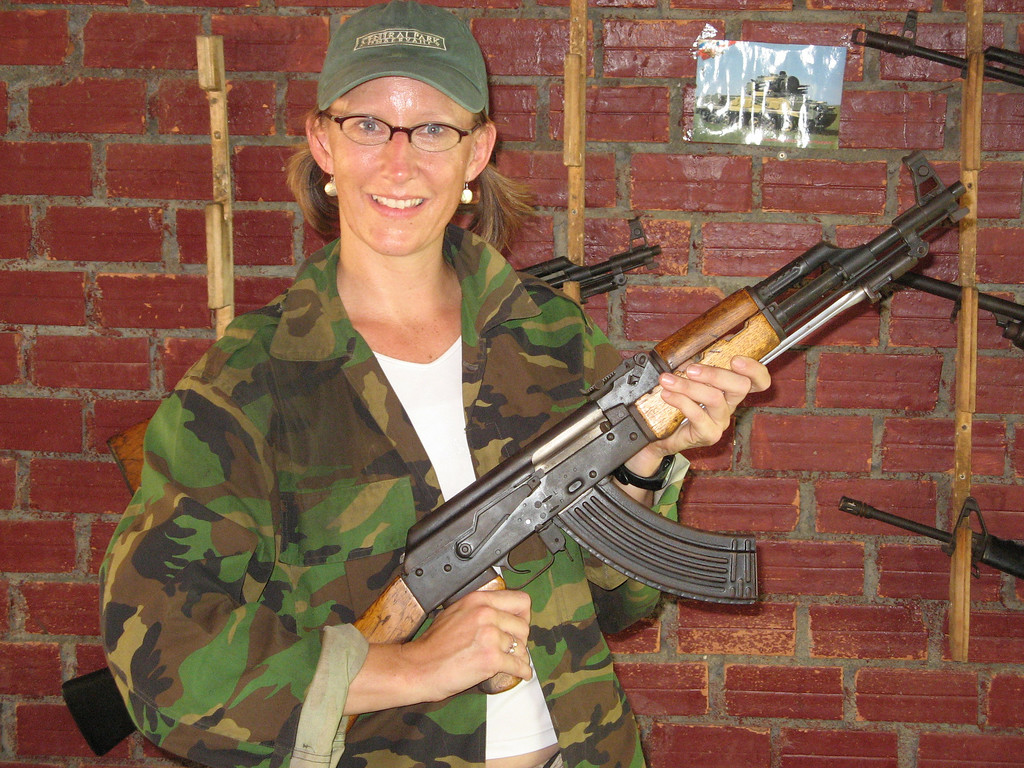 Sheer power in my hands...at the shooting range in Cambodia