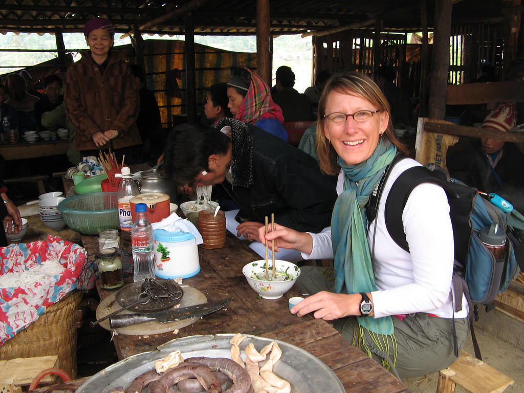 Eating with the locals always provides them some entertainment.  Northern Vietnam