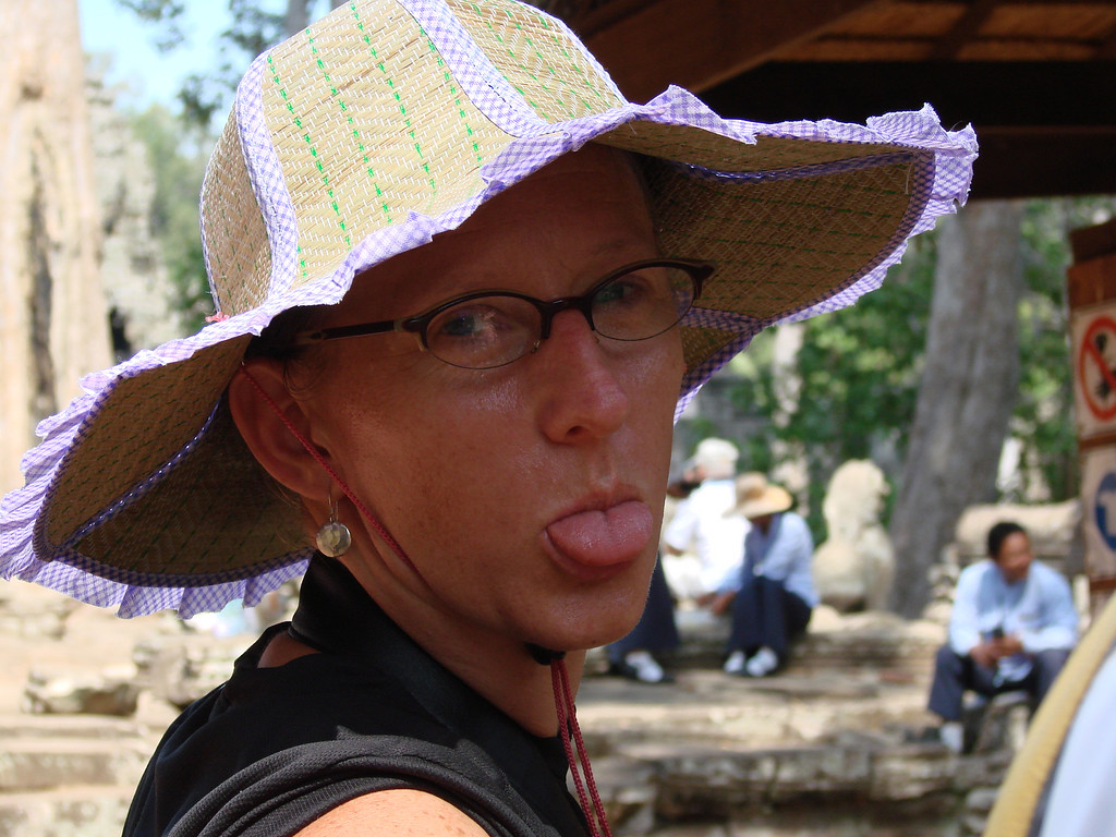 Loving my new hat in Cambodia.  Vanity was out the window at this point - it was well over 43 degrees!