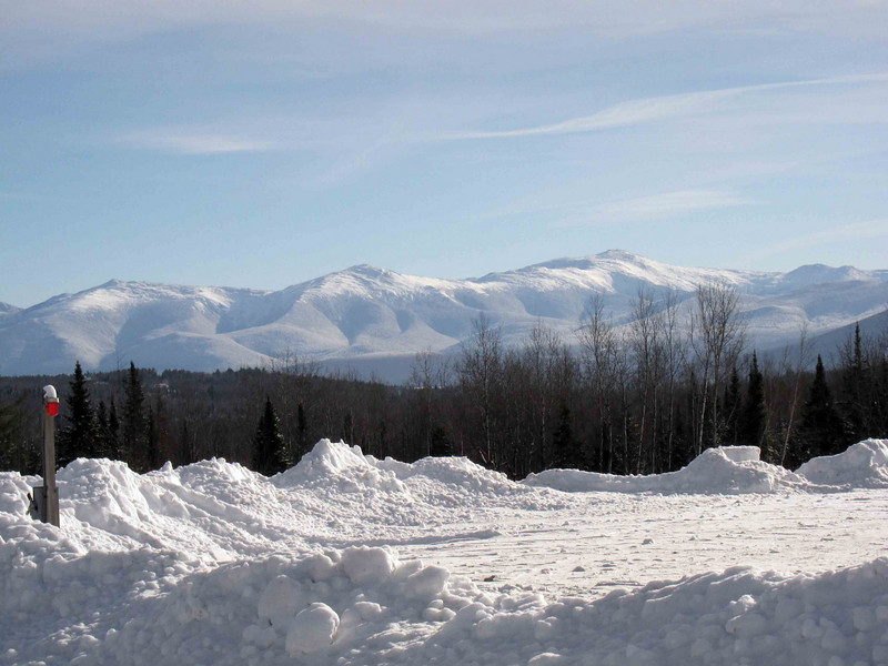 view from the parking lot where we picked up the ski trail