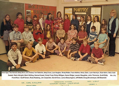 Mrs. Lilly's 1971-72 6th grade class