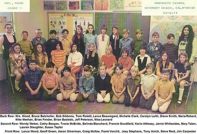 Mrs. Wood's 1970-71 5th grade class