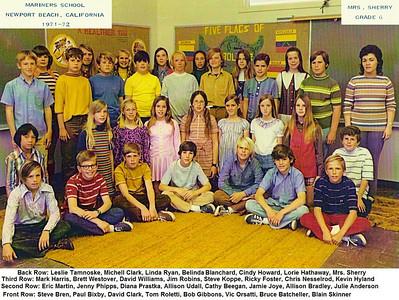 Mrs. Sherry's 1971-72 6th grade class