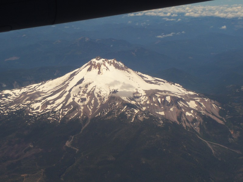 Mt. Jefferson on the flight from Redmond to Seattle, the first leg of a long journey.