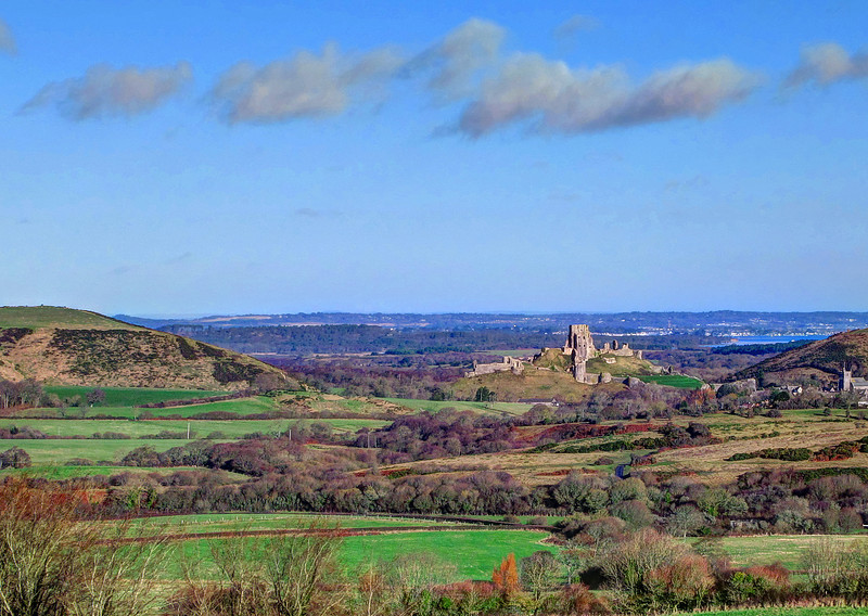 Corfe Castle on a lovely sunny morning.