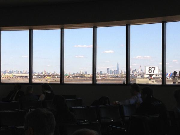View of Manhattan from inside Newark airport