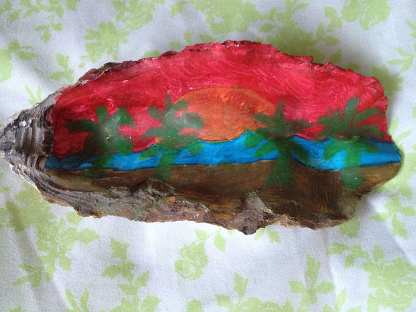 Oyster shell painting by my sister