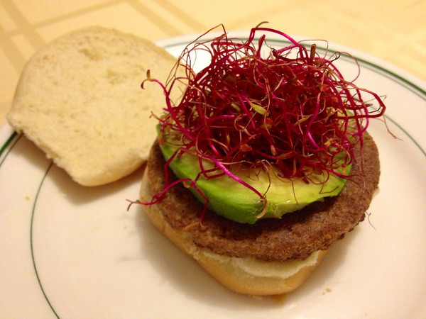Veggie burger with avocado and beet sprouts from Fullei Fresh