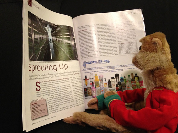 Baleen reads about Fullei Fresh in the current issue of Food and Drink Magazine. He loves sprouts.
