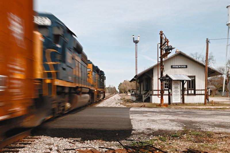 Freight Train Passing Through Pinewood, SC