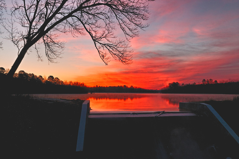 Sunrise at Everett Lake on Marks Creek, US Hwy 1, near the NC-SC Border