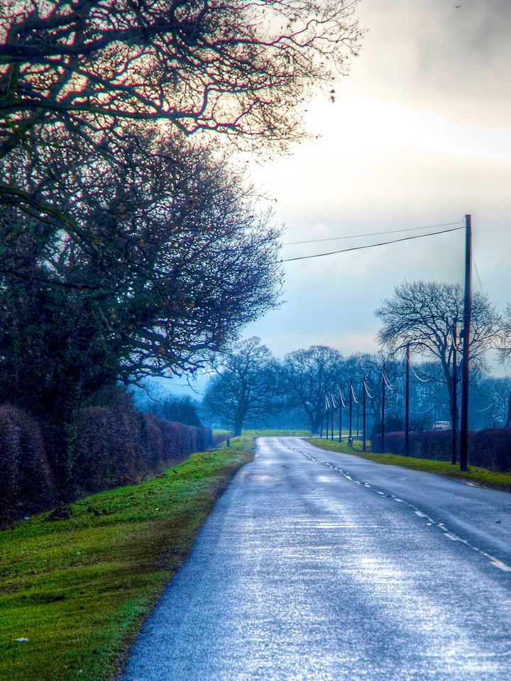 7 Jan 11: The road home.  This is another composite of 3 exposures, made with an Olympus E-3 and 12-60 DZ lens.  The road is wet from recent rain, the grass green and the sky a mixture of lowering cloud and glimpses of sun.