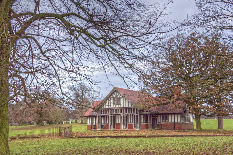 2 Jan 11: A pavilion of sorts in Woburn Park, Bedfordshire.  It is surrounded with a ha-ha (just visible), with a gate to front and back, leading to the fields around.  This image is a composite of 3 bracketed images, using Photomatix HDR to bring them together and adjust the exposure.  Finally, PTLens took care of a bit of distortion because of my position relative to the subject.