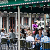 A musician plays for the patrons at the Cafe Du Monde.
