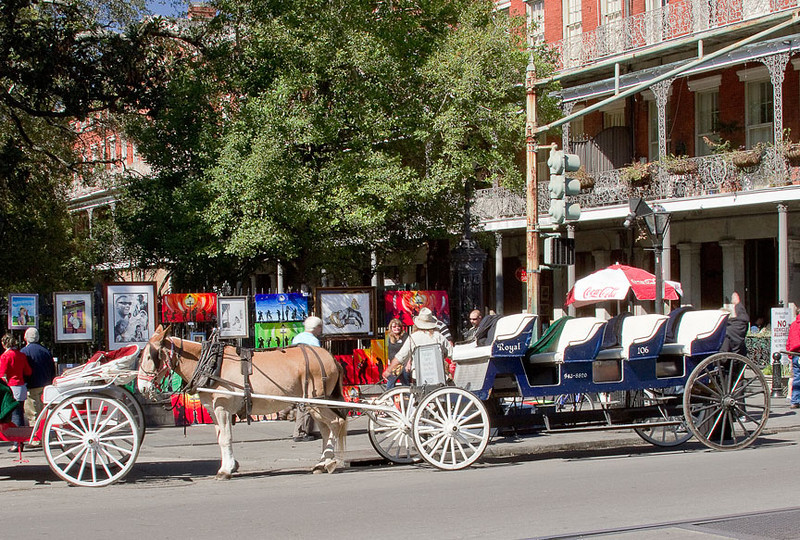 Jackson Square artists display their art while the transportation specialists stand ready to take tourists on a unique ride around the Quarter.