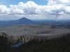 Black Butte and a smoke plume from a slash burn.