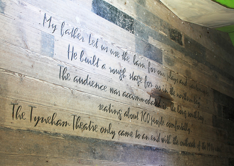 An inscription carved into the stage in the Barn.