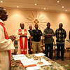 Fr. Joseph Mukuna, SCJ, of Congo, is a member of the community doing advanced studies at St. Joseph's Institute in Cedar.  Here he is pictured celebrating morning Mass.