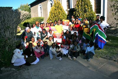 Some of the young people of St. Teresa Mission with Fr. Ntsikelelo