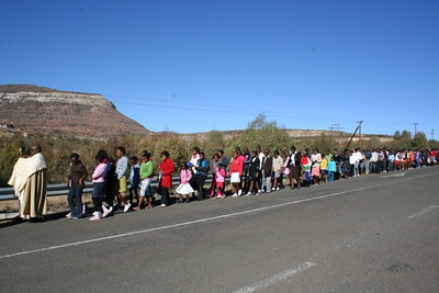 Processing toward the township.