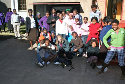 Mary Gorski, communications director for the U.S. Province, with children at St. Teresa Mission about an hour from Aliwal North.