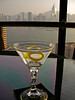 Sundown Martini (Bombay Sapphire, very dry, up, with a twist) overlooking Hong Kong Harbor