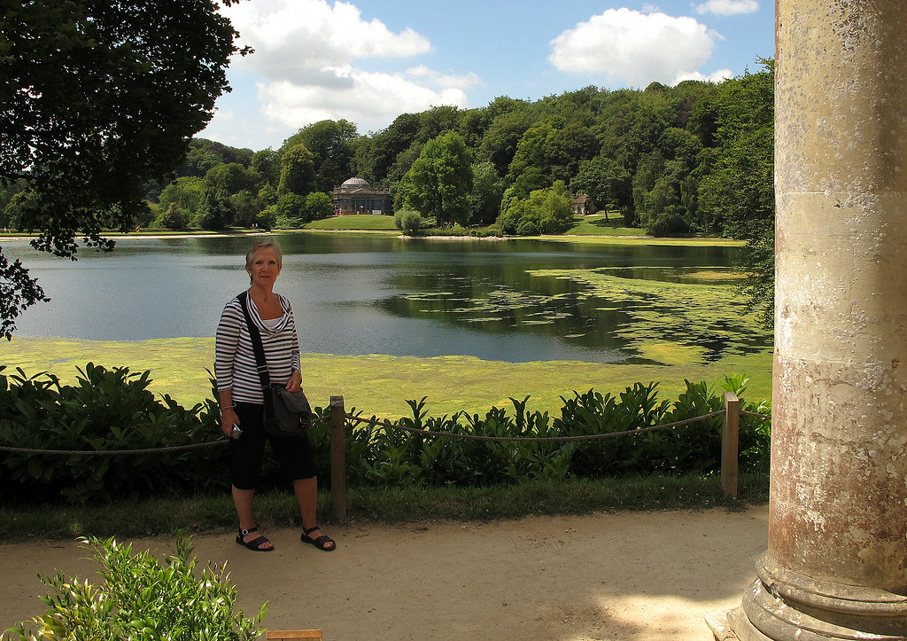Di standing by The temple of Flora.