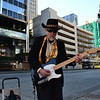 How lovely watching  and listening to this  guy,He was using  a Fender Telecaster as you can see, a Vox battery amp  and drum machine he made my day with his ZZ Top inspired blues right outside a skytrain station.Most people just walked on by.............not me
