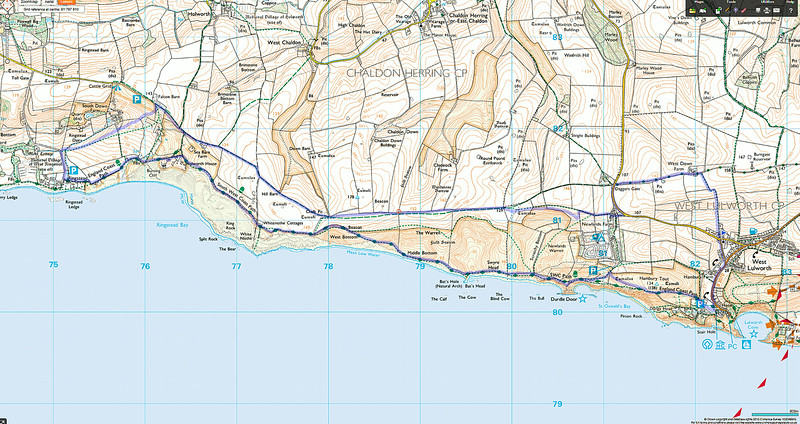 The route taken, clockwise, from the church at West Lulworth.