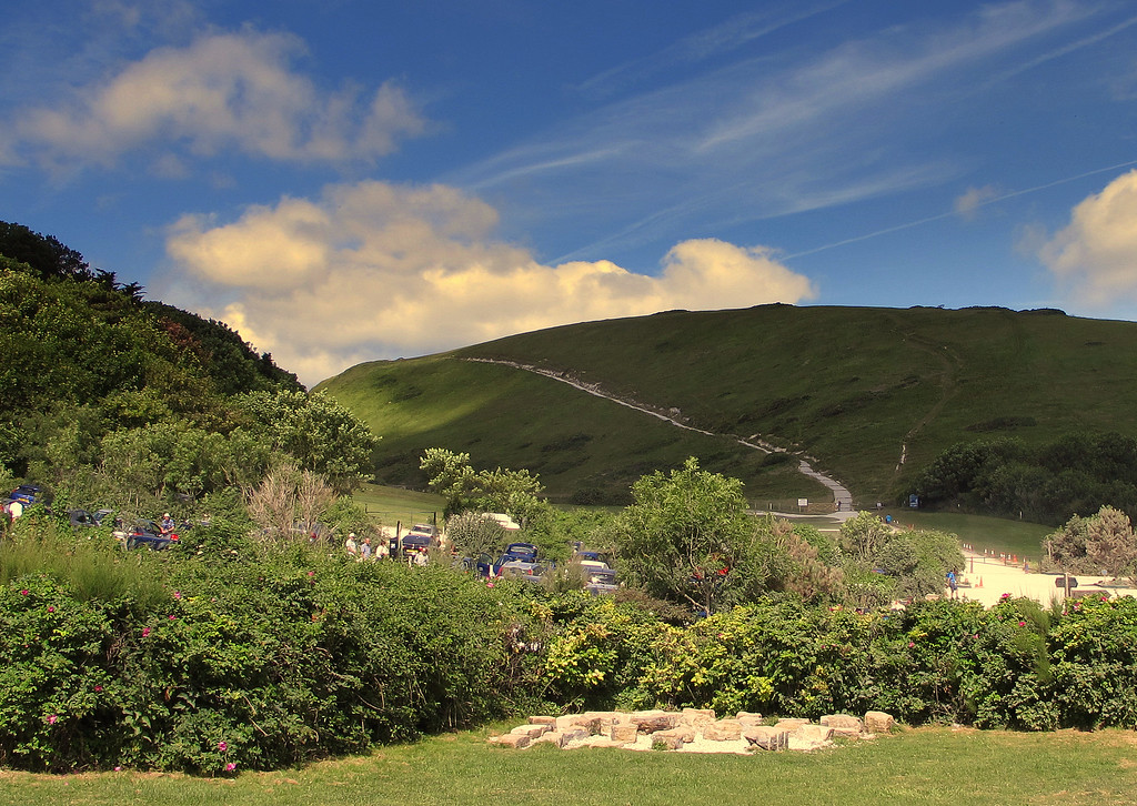 The first hill, Hanbury Tout, from the main car park at Lulworth Cove.