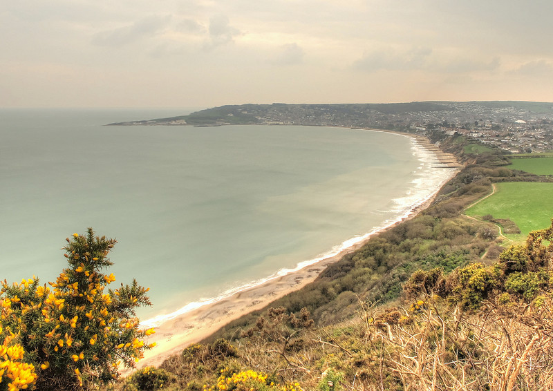 The sweep of Swanage Bay from the coast path to Studland.
