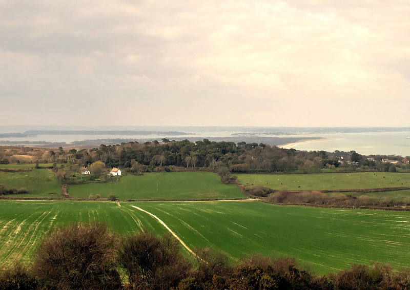 The view back showing Poole harbour with Brownsea island.