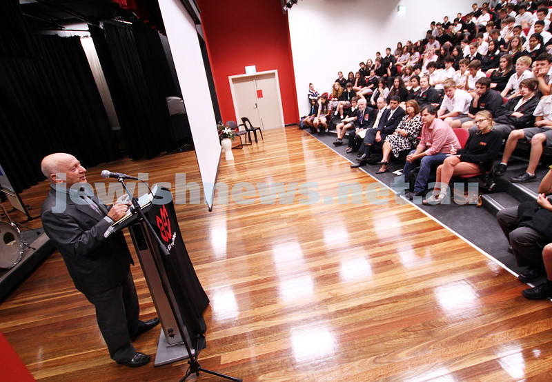 19-4-12. Yom Ha shoah memorial at Glen Eira College. Gennady Vilkhov, grand father of student Benjamin Weintraub speaking at the school assembly. Photo: Peter Haskin