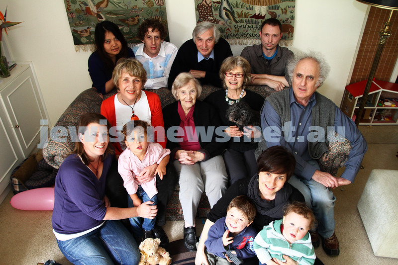 13-10-12. Mary Fisher (centre) celebrates her 100th birthday with her family. Photo: Peter Haskin