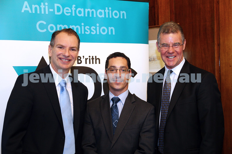 25-10-12. ADC Campus Anti Semitism Conference at Victorian Parliament House. From Left: David Southwick, member for Caulfield, Anton Block, Peter Hall, Minister for Higher Education. Photo: Peter Haskin