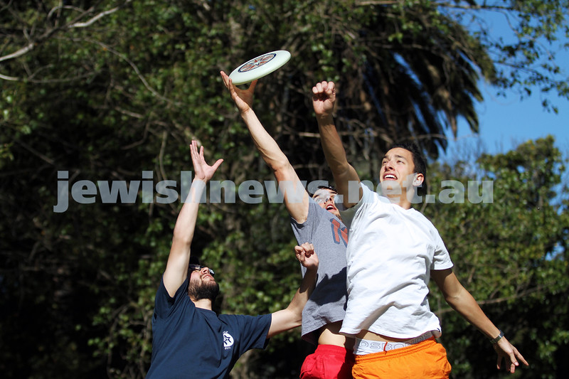 22-10-12. Playing frisbee in Caulfiedl Park. Glen Eira Council have decided not charge for a permit to play frisbee in the park. Ben Grodeck, Ben Scholl, Nathan Eizenberg. Photo: Peter haskin