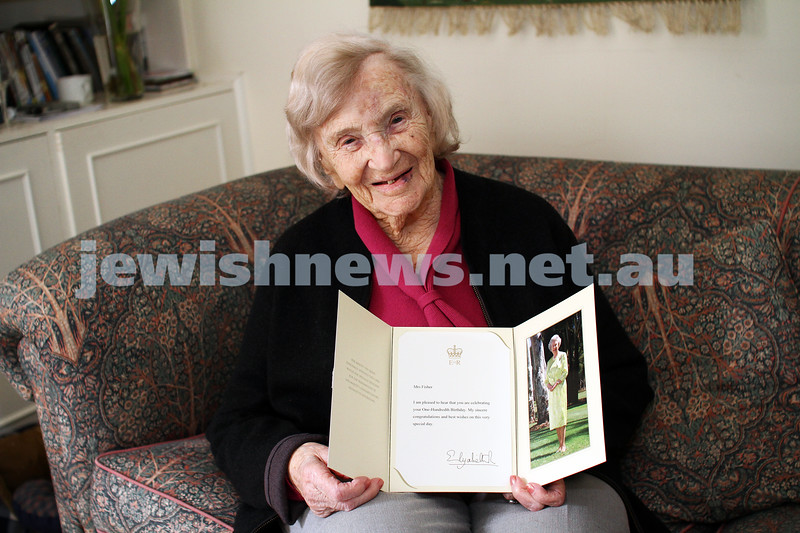 13-10-12. Mary Fisher showing off her letter from the Queen on the occasion of her recent 100th birthday. Photo: Peter Haskin