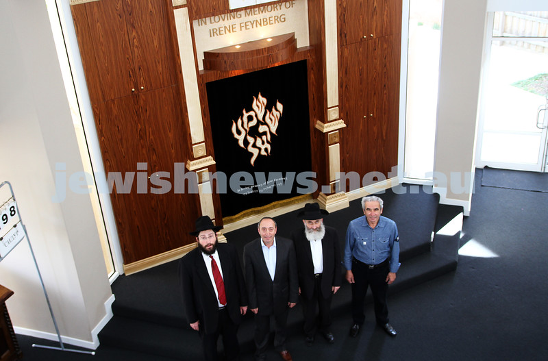 23-10-12. Newly completed interior of the Friends of Refugees of Eastern Europe ( FREE ) synagogue on Carlisle Street. From left: Rabbi Yisroel Sufrin, Naum Feynberg, Rabbi Elozor Gorelik, Leon Feinberg. Photo: Peter Haskin