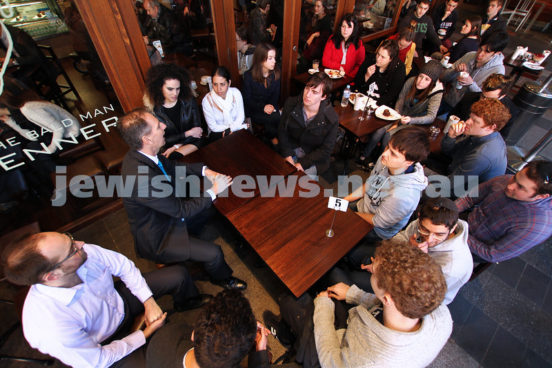 31-8-12. State member for Caulfield David Southwick chats to students and members of the Young Liberals at Max Brenner Chocolates in the Queen Victoria Building, the venue for a number of recent anti Israel BDS protests. Photo: Peter Haskin