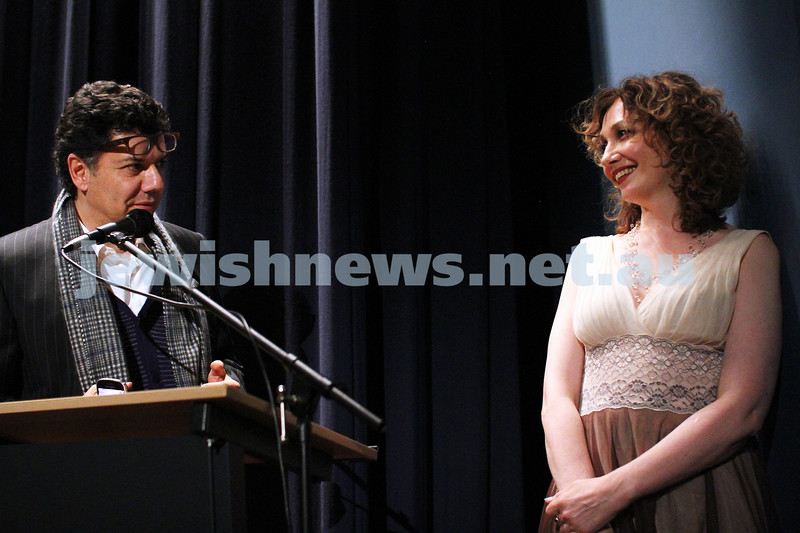 "28-8-12. Opening night of the 2012 Israeli Film Festival at Palace Cinemas, Como. Albert Dadon introducing actress Evgenia Dodina, star of ""Invisible"". Photo: Peter Haskin"