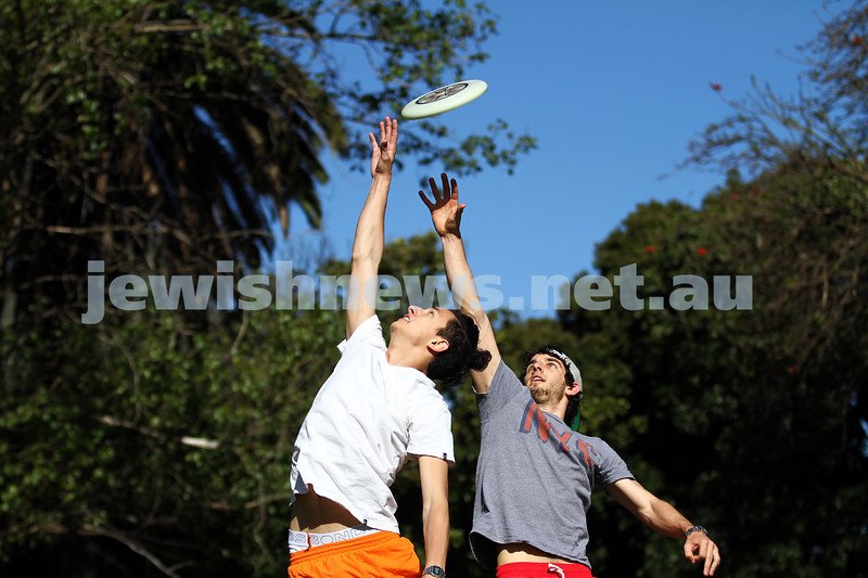 22-10-12. Playing frisbee in Caulfiedl Park. Glen Eira Council have decided not charge for a permit to play frisbee in the park. Nathan Eizenberg (left), Ben Scholl. Photo: Peter haskin
