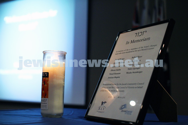 27-7-12. Memorial service for Israeli athletes killed at the 1972 Munich Olympics. Beth Weizmann.  memorial candle. . Photo: Peter Haskin